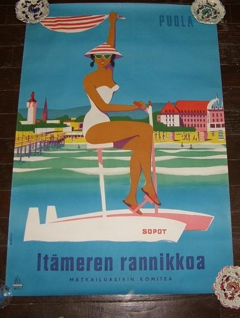 Vintage Polish Travel Poster Agpol Pudla Sopot Itameren Rannikoa Baltic Sea