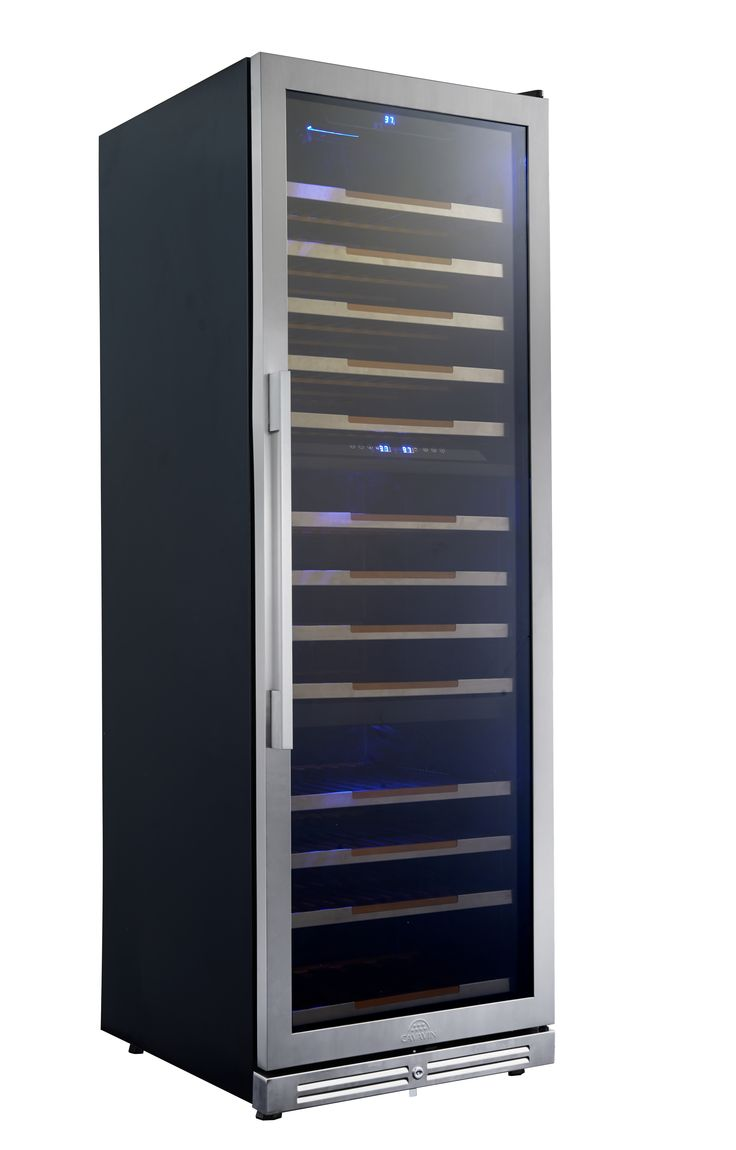 "CAVAVIN | 143 Bottle Triple Zone Wine Cooler • Capacity of up to 143 bottles (750 ml) • Built-in or freestanding installation • Triple zone ranging between 5-18°C (40-65°F) • Transition LED lighting (as door opens) with on/off switch • All wood 100% extension shelves with stainless steel trims • 2 handle choices included (PRO & DESIGN) • 4"" stainless steel kickplate mounted with security lock"