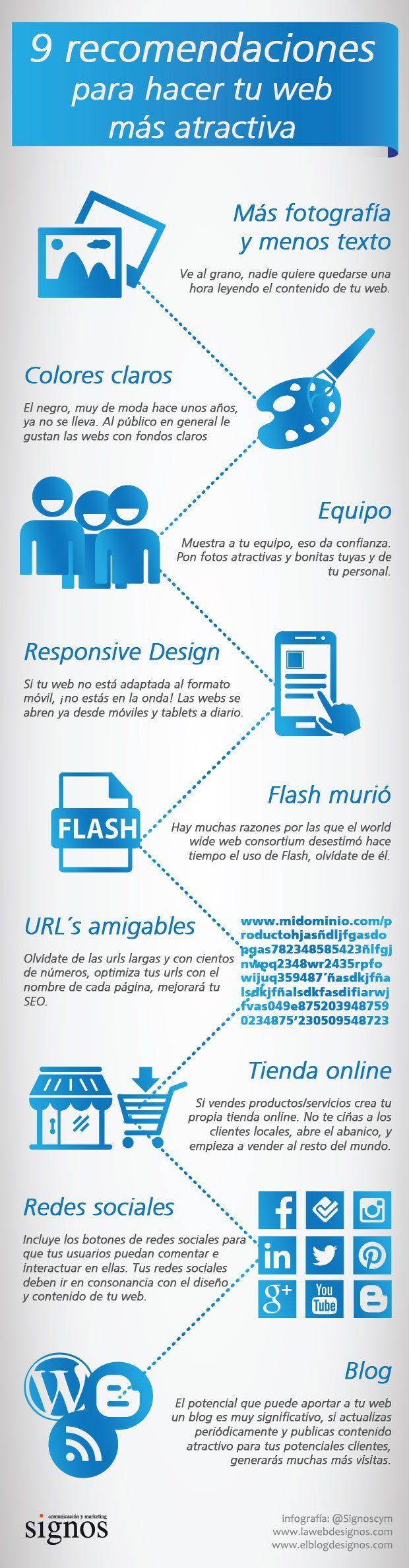 9 recomendaciones para hacer tu web más atractivo #infografia #infographic #marketing