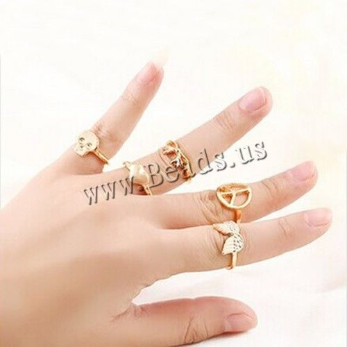 Mid Finger Ring, Zinc Alloy, gold color plated, nickel, lead & cadmium free, 14.5-16.5mm