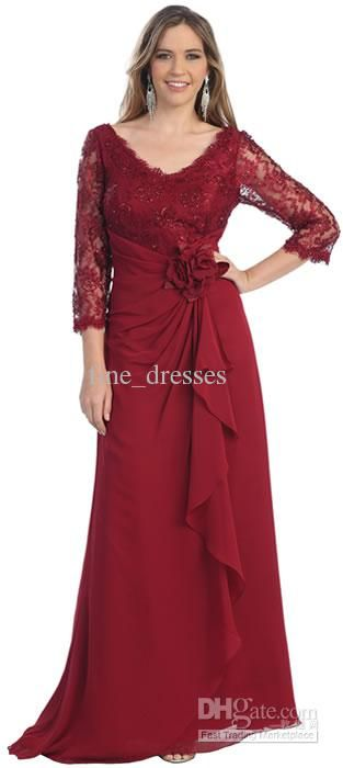 Wholesale Plus size Mother of the bride with sleeves V neck red Prom dresses Lace Fashion Watteau, Free shipping, $72.8-95.2/Piece | DHgate
