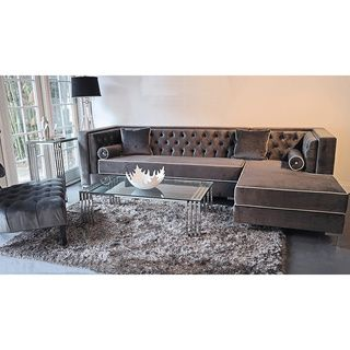 @Overstock - Decenni Custom Furniture 'Tobias' Grey Velvet Tufted 9.5-foot Sectional Sofa - Tobias lush lavish hand tufted sectional, plush grey micro-velvet fabric contrasting piping, hardwood frame construction and long lasting high density foam for a firm support seat and back cushion. Chrome steel legs and beautiful bolster ...