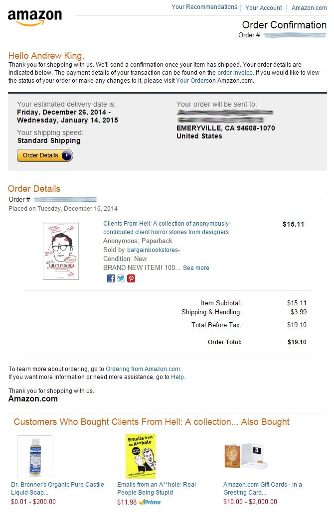 Order confirmation from Amazon