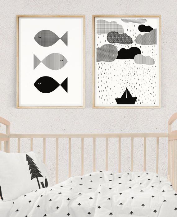NAUTICAL NURSERY SET, Black and White Baby Prints, Nursery