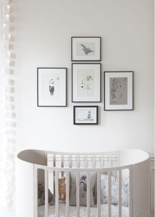 Frames above cot: Grey Interiors, Idea, White Nurseries, Black White, Baby Rooms,  Electric Switch, Photo, Gender Neutral Nurseries, Kids Rooms