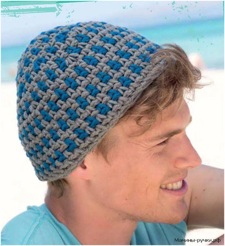 Серо-голубая мужская шапка вязаная крючком (crochet hat for man)