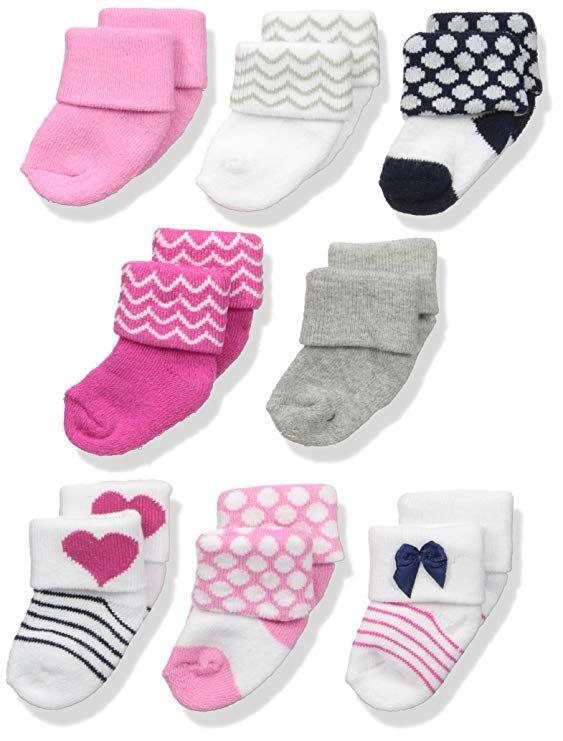 7ec95c27f Amazon.com  Luvable Friends Baby Boys  8 Pack Newborn Socks  Clothing