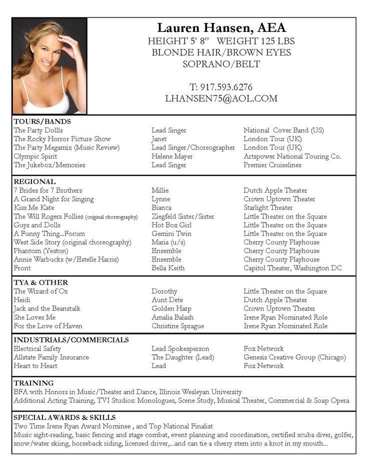 Examples Of Actors Resumes  Acting Resume Template
