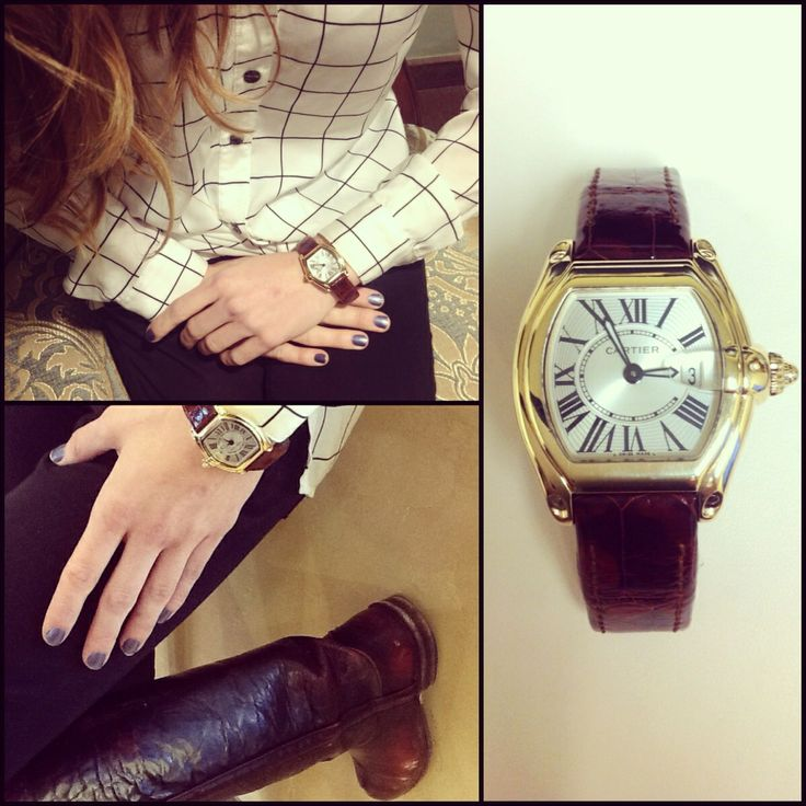 Our Cartier Roadster watch- what a classic! Love this outfit too!
