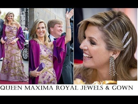 Dutch Queen Maxima Sparkles with Her Royal Jewels and Ballgown at King W...