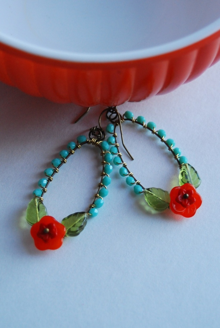 Frida's garden earrings  in  turqouise and red orange. $45.00, via Etsy.