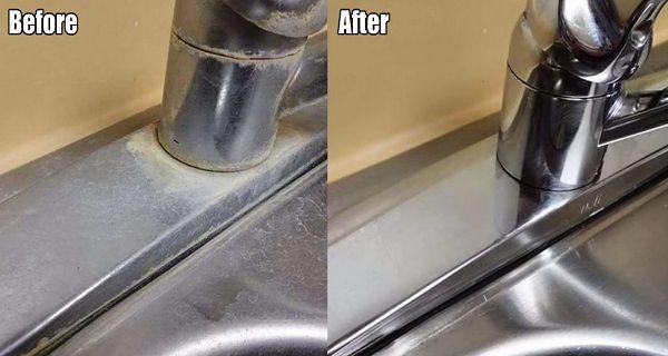 Çelik lavabo ve muslukları parlatma
