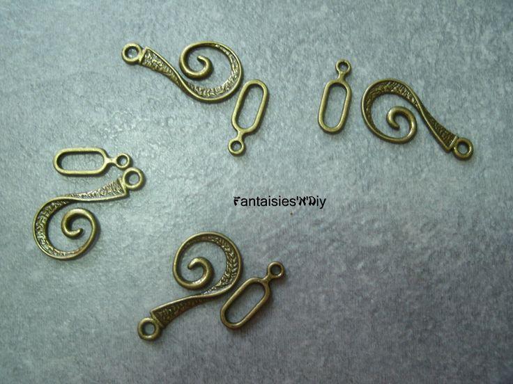 (FRM10) Lot de 4 sets fermoirs toggle spirale métal couleur bronze vague 26mm : Fermoirs par fantaisies-n-diy