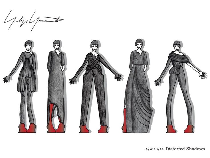 Year 2, Semester 2, Yohji Yamamoto project. Final illustration board 2