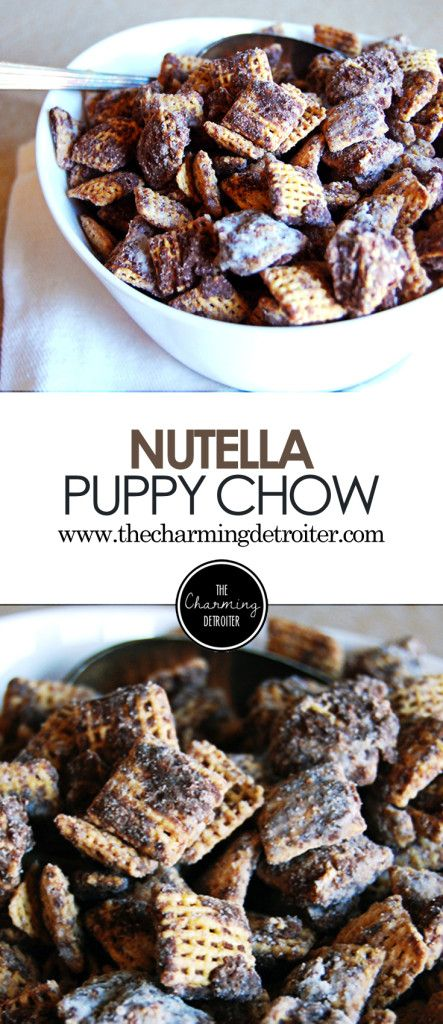Nutella Puppy Chow: A twist on a favorite snack mix, this puppy chow features the deliciousness that is Nutella, in celebration of World Nutella Day!