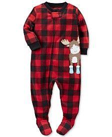 Carter's 1-Pc. Buffalo Check-Print Moose Footed Pajamas, Baby Boys (0-24 months)