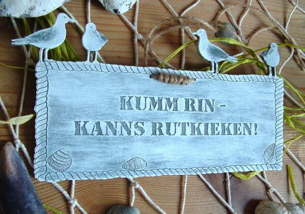 Tür- & Namensschilder - Türschild Plattdeutsch Plattdüütsche Sprüche Holz - ein Designerstück von Seemannsgarn bei DaWanda