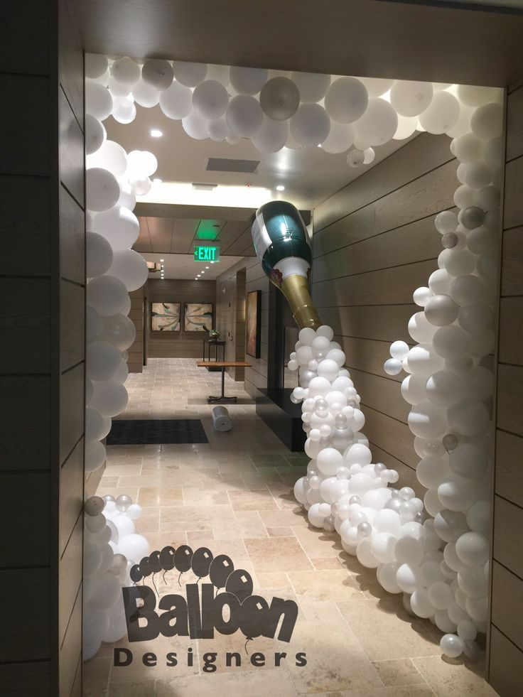 "Our ""Champagne Celebration Entrance"" is perfect for any wedding reception, gala, New Year's Eve party or any time your event plans to enjoy the bubbly #seattleballoons #seattleballoondecorations #balloons #globos #champagne #champagnetoast #nye #wedding #bridal #bridalreception #weddingreception #nyetoast #champagnebottle #bubbly #toast #gala #anniversary #anniversaries #balloondecorations #weddingballoons #nyeballoons #newyearseve #balloonarch #balloondecor #bridalballoons #balloondesigners"