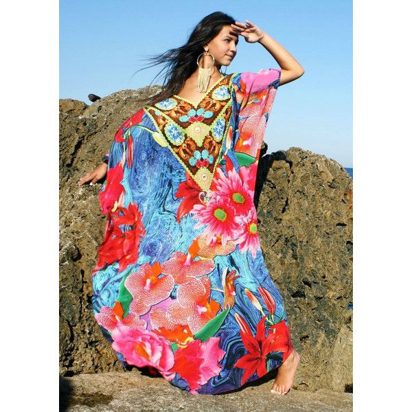 Silk Kaftan wild flowers.Flowers. ❤ liked on Polyvore featuring tops, silk top, caftan tops, kaftan tops, silk kaftan and flower top