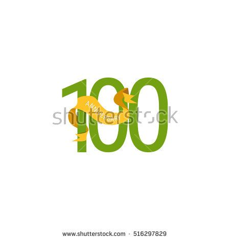 100 Years Anniversary with Yellow Ribbon. Logo Celebration Isolated on White Background