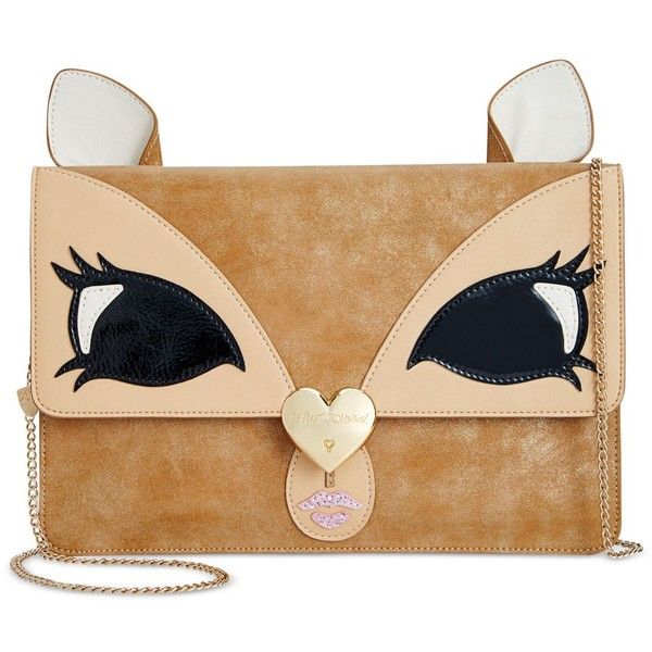 Betsey Johnson Deer Clutch found on Polyvore featuring bags, handbags, clutches, tan, beige handbags, tan handbags, chain handle handbags, beige clutches and chain-strap handbags