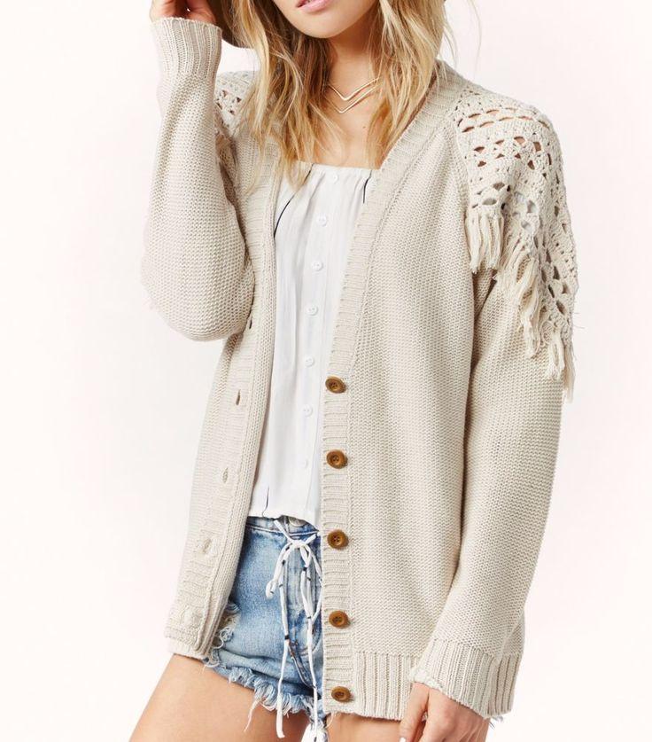 "ETERNAL SUNSHINE CREATIONS $195 ""Fringe Cardigan Loose Knit Sweater"" - Size XS/S #EternalSunshineCreations #Cardigan #Casual"