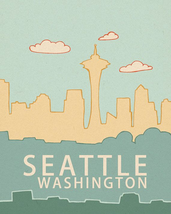 Seattle Washington Skyline 2.0 // Typography Print door LisaBarbero 20x25cm