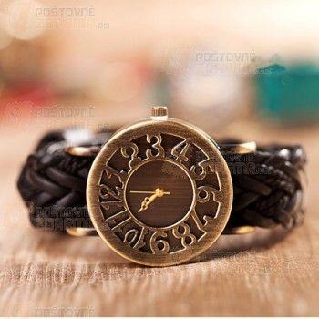 Dámské vintage hodinky s pleteným páskem a poštovné ZDARMA! - Sleva hodinek
