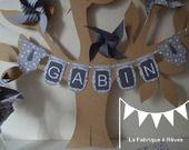 Fanions plaque porte prénom garçon gris blanc étoile - tarif 5 lettres : Décoration pour enfants par la-fabrique-a-reves