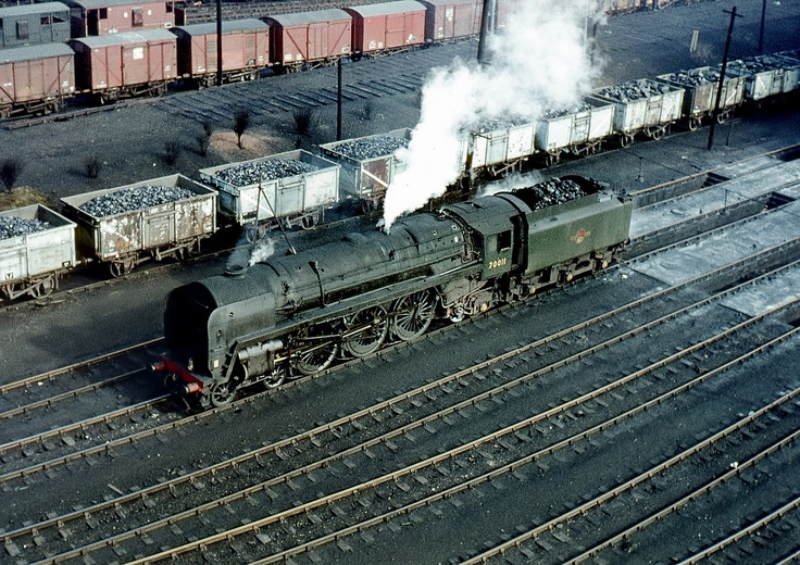 Britannia 70011 (Hotspur) at Patricroft between duties, circa 1965.