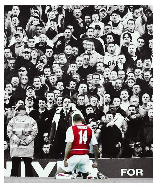 "happyhippiechic:    ""I still have the picture when I stop in front of Tottenham fans. Some of the faces of the fans have actually no expressions. Dissapointed. Anger. It's my favorite photo."" - Thierry Henry"