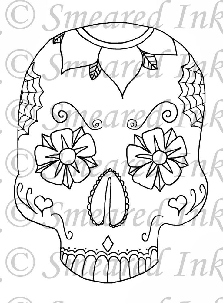 219 best Printable Sugar Skulls Coloring images on ... - photo#39
