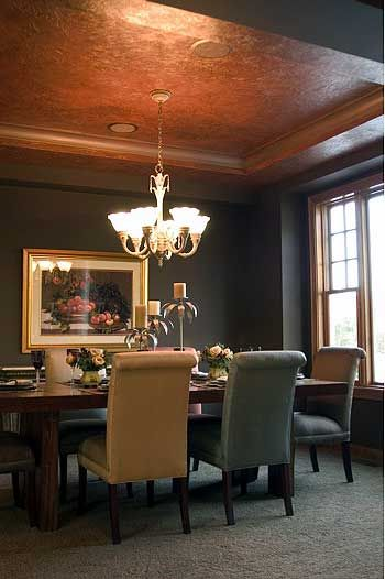 beige chair and Faux Copper Ceiling with gray walls warms up the cool color