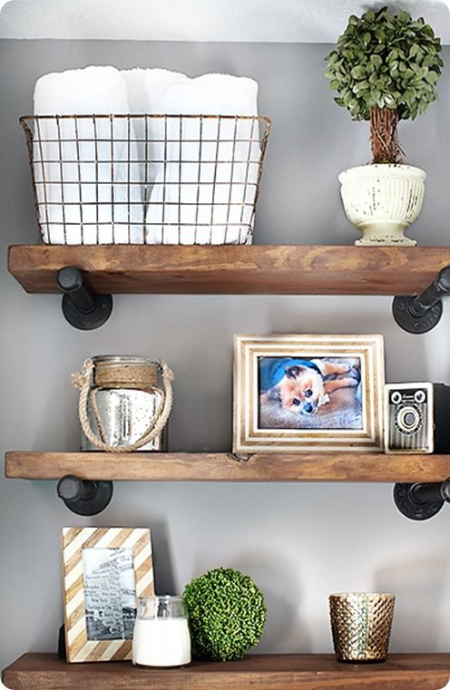 Reclaimed Wood and Metal Wall Shelves {Restoration Hardware inspired}