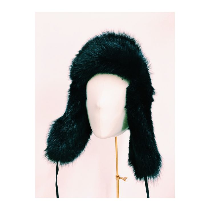 Cecile Millinery, midnight blue lamb fur chapka . Hand made in London