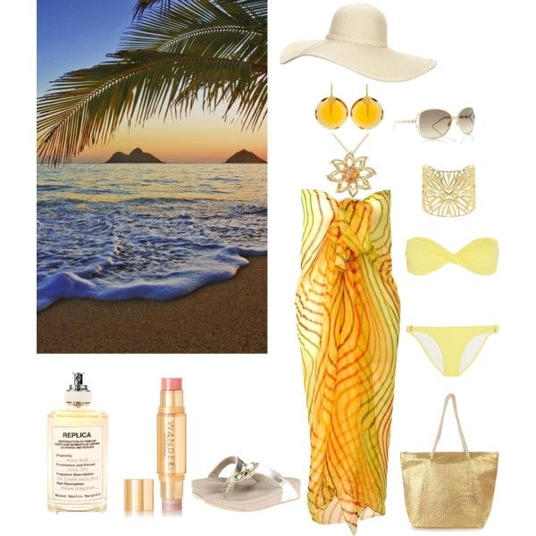 Yellow Bandeau Bikini & Sarong Wrap by horcal on Polyvore featuring Melissa Odabash, FitFlop, Vélizance, Kastur Jewels, Miadora, Reger by Janet Reger, Gucci, Wander Beauty, Maison Margiela and Wall Pops!