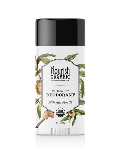 Nourish Organic Deodorant This blend of naturally deodorizing cornstarch and vegetable protein, soothing shea and cocoa butters, beeswax and coconut oil that leaves you feeling fresh — all day, every day. USDA organic, gluten free, and cruelty free http://nourishorganic.com/products/organic-deodorant