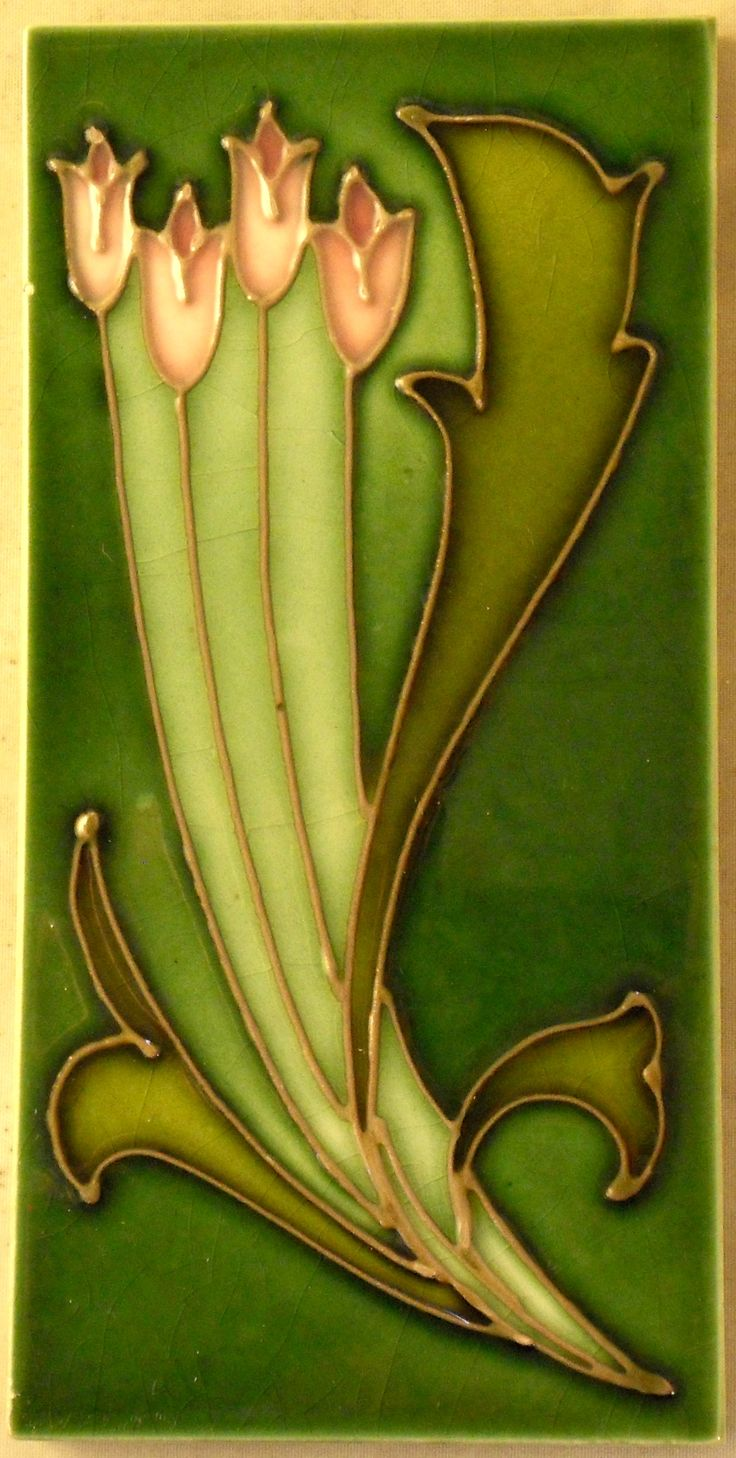 Super A rated tubed-lined stylised organic Art Nouveau design c1905/6 from Henry Richards.Tile reference number 1049 in my book 'Art Nouveau Tiles with more Style""