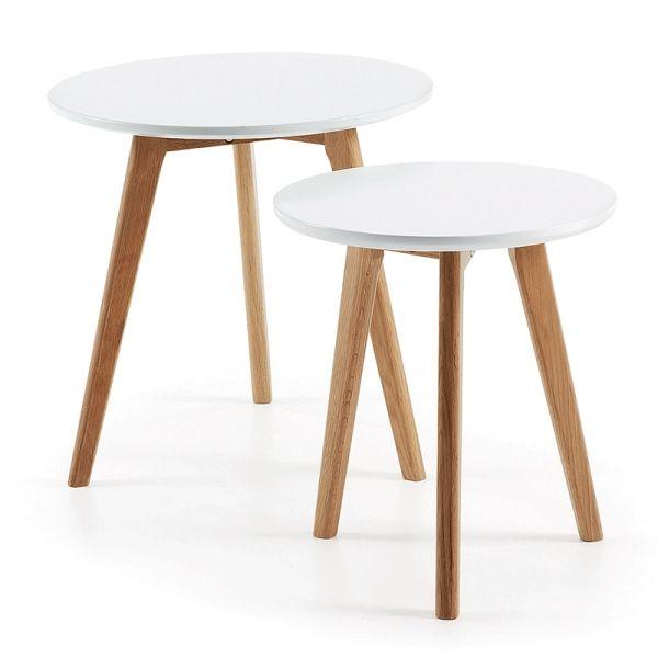 Set de 2 mesas auxiliares Kirb blanco · 109€