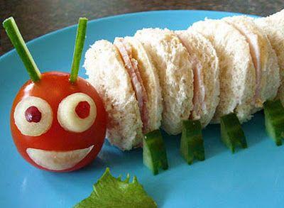 Creative lunch ideas... my kids would love the caterpillar sandwich!