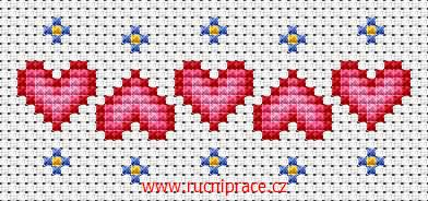 Hearts, free cross stitch patterns and charts - www.free-cross-stitch.rucniprace.cz - for Cady