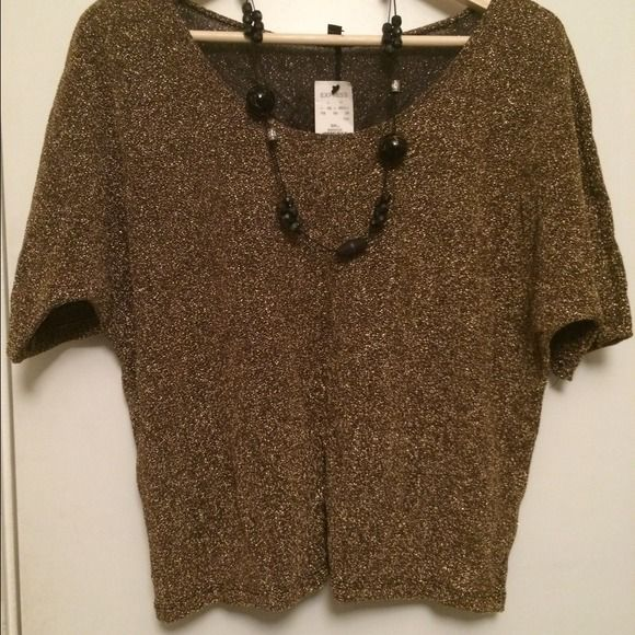 Gold Batwing Top! Shimmery Gold Woven Top! Batwing! Scoop Neck! NWT! Express Tops