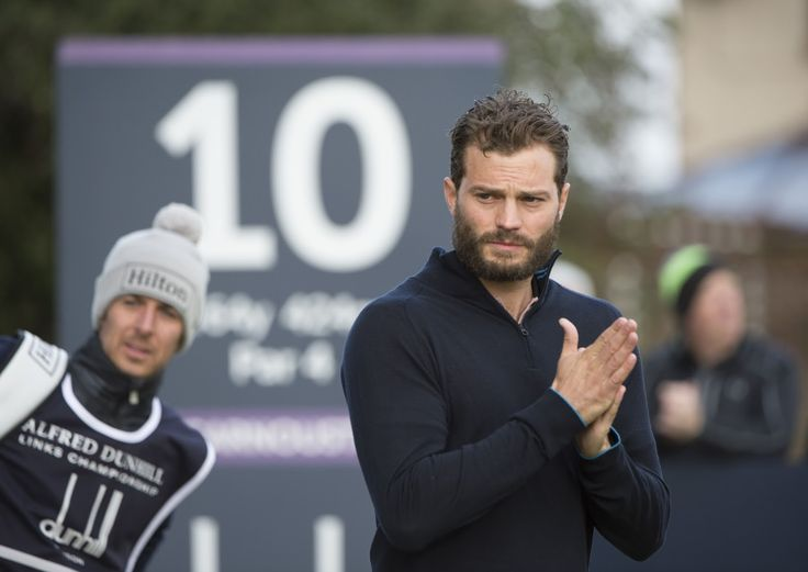 This is the picture of a Tired man w/2 small children at home golfing :: Jamie Dornan, Dunhill Round 1 2016