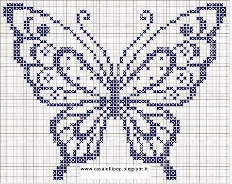 Schema gratuito per ricamare una farfalla a punto croce. Free pattern cross stitch butterfly