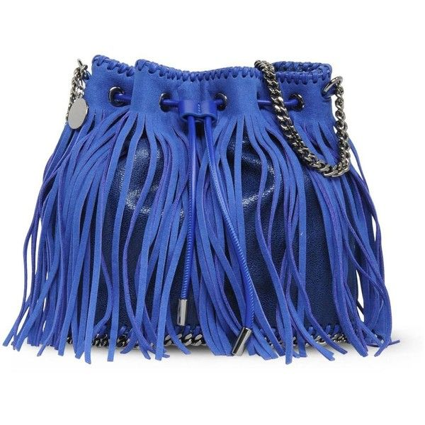 Stella McCartney Falabella Bluebird Fringed Bucket Bag ($1,315) ❤ liked on Polyvore featuring bags, handbags, beau blue, blue fringe purse, blue bag, deer purse, stella mccartney purses and fringe handbags