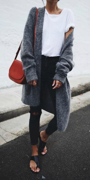 Andy + simple white tee + ripped black jeans + oversized cashmere cardigan + effortlessly casual look + open sandals + miniature bag.  Jeans: Topshop, Cardi: Acne, Shoes: Atpa Atelier.