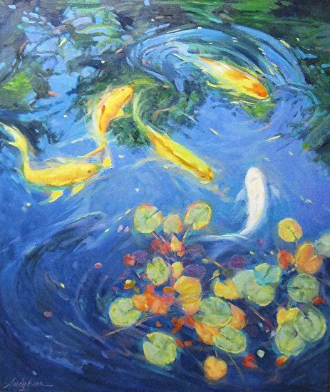 Blue pond oil canvas 24x20 koi and waterlilies for Koi pond color