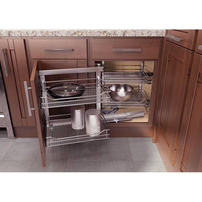 Vauth Sagel Blind Corner Pull Out Vs Cor Fold Right Handed For 33 Full Access Cabinets Wayfair In 2020 Corner Kitchen Cabinet Pull Out Drawers Blind Corner Cabinet