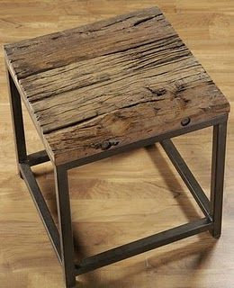 rustic wooden side table with modern steel frame