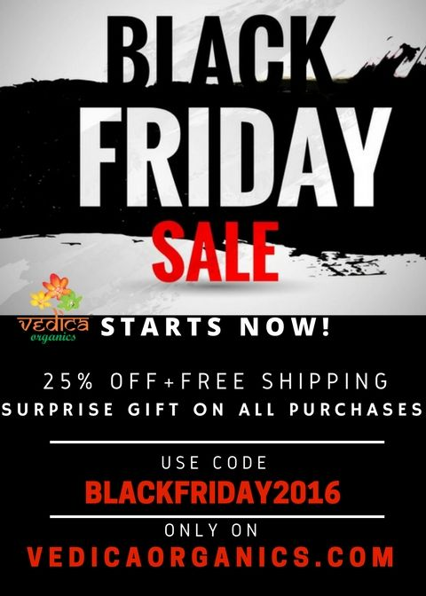 Black Friday 2016 Sale Has Begun! Vedica Organics has great deals on www.vedicaorganics.com Organic pulses, cereals, spices, herbs and much more.. Stock up your grocery while relaxing at home this holiday season :) Enjoy 25% off, free shipping & free surprise gifts on every purchase! Use code: BLACKFRIDAY2016 Just click here-> http://www.vedicaorganics.com/collections/all Vedica Organics: For 100% Organic, GMO-Free, Direct from Farm and #Vegan #food products #blackfriday #organic #sale